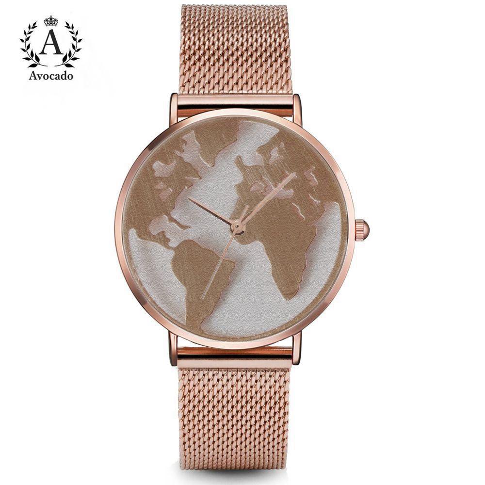 Aguacate de la venta caliente en el mundo de la moda reloj de cuarzo de los hombres Unisex mapa viajes en avión de todo el mundo las mujeres vestido de cuero Relojes