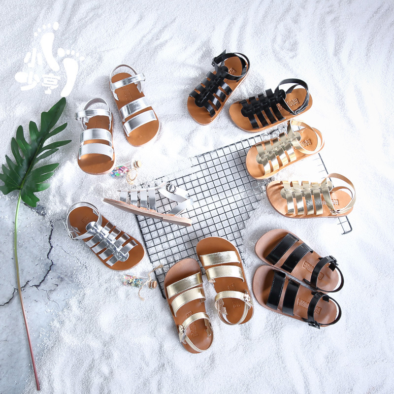 Girls Sandals Baby Gladiator Sandals Silver Boys Kids Beach Shoes 2020 Summer Children Fashion Quality Toddler Casual Sandals