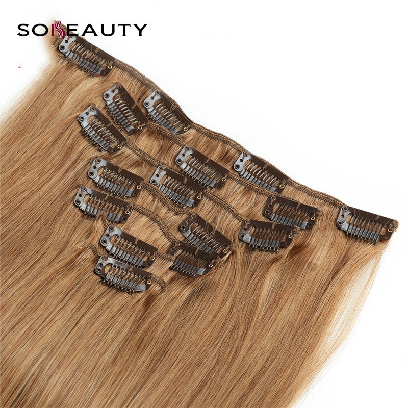Sobeauty Clip In Human Hair Extensions Machine Made Remy  Clip Ins Full Hair Brazilian Hair Blonde 14 16 18 20 22 indian hair(China)