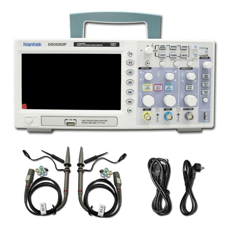 Hantek DSO5202P Oscilloscope Numérique 200 MHz bande passante 2 Canaux PC USB LCD Portable Osciloscopio Portatil Électrique Outils
