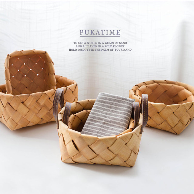 Exceptionnel Original Wood Veneer Storage Baskets Hand Woven Japan Style Creative For  Fruit Bread Food Picni Basket Compartment Basket