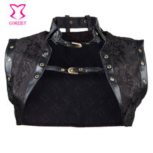 Black Brocade Leather Collar Steampunk Women Corset Jacket Sexy Gothic Clothing Burlesque Costumes Accessories Sleeveless