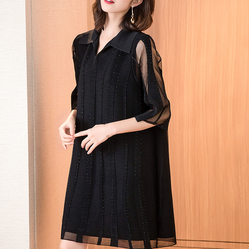 Spring Summer Big Size Fashion Beads Pleated Dress Pure A shaped Dresses