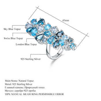 GEM\'S BALLET Natural London Blue Topaz Rings Genuine 925 sterling silver Luxury Fine Costume Jewelry Accessories For Woman
