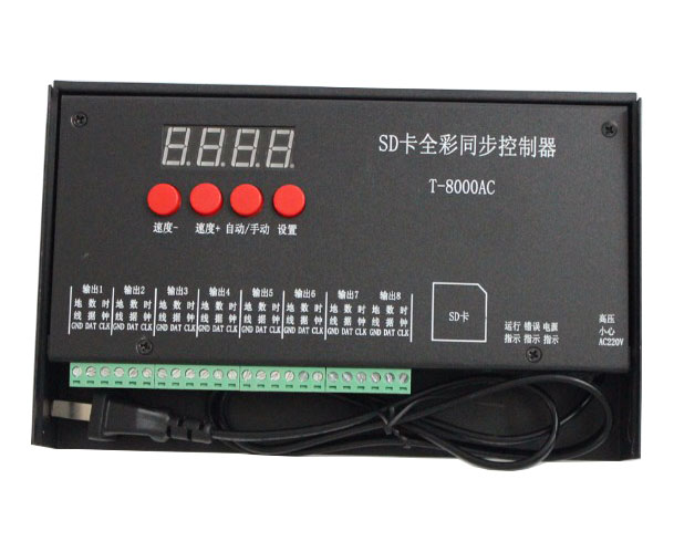 T8000 AC 220-240V SD Card Pixel Controller for WS2801 WS2811 LPD8806 MAX 8192 Pixels DC5V dc5v t4000s rgb controller sd card led pixel controller t 4000s can max control 4096 pixels for ws2811 ws2801 ws2803 lp6803