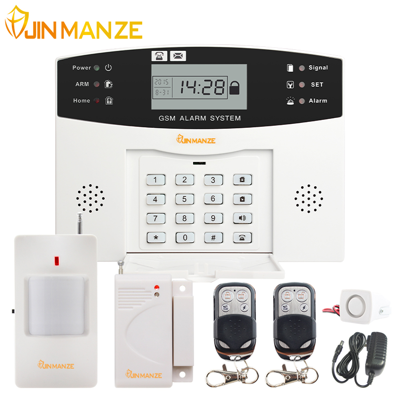JINMANZE Wireless 433MHz Home Burglar Security SIM SMS GSM Alarm System PIR Detector Door Sensor Metal Remote Control Kit gsm lcd wireless 433 smart burglar security alarm system detector sensor kit remote control auto dial sms outdoor siren