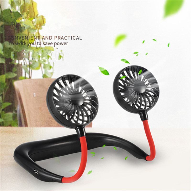 Hands-Free Hanging USB Rechargeable Dual Fan Mini Air Conditioner Summer Portable Outdoor Sport Cooler Support Dropshipping