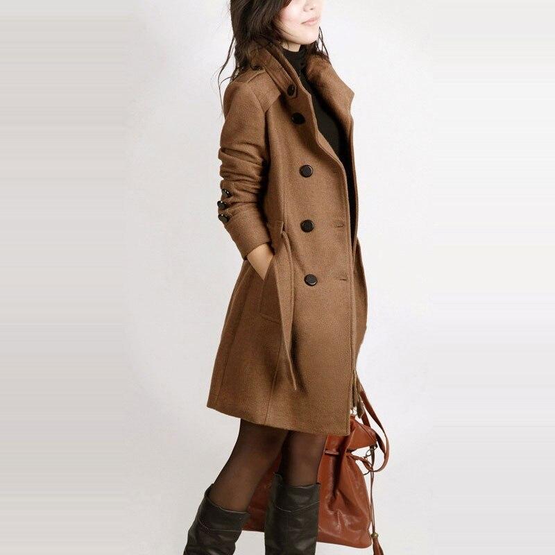 Long Sleeve Winter Wool Coat Women Europe Style Plus Size Casaco Feminino Ladies Autumn New Slim Long Woolen Coats Z5405