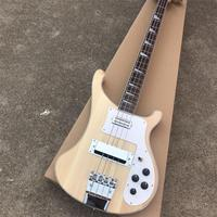 Natural wood color 4 strings rickenback electric bass guitar with 2 inputs,Rosewood fretboard,