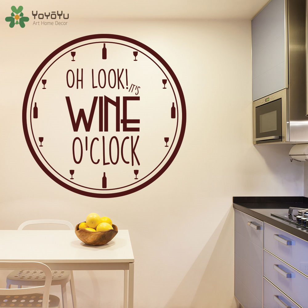 YOYOYU Wall Decal It\'s Wine O\'Clock Quotes Vinyl Wall Stickers Home ...