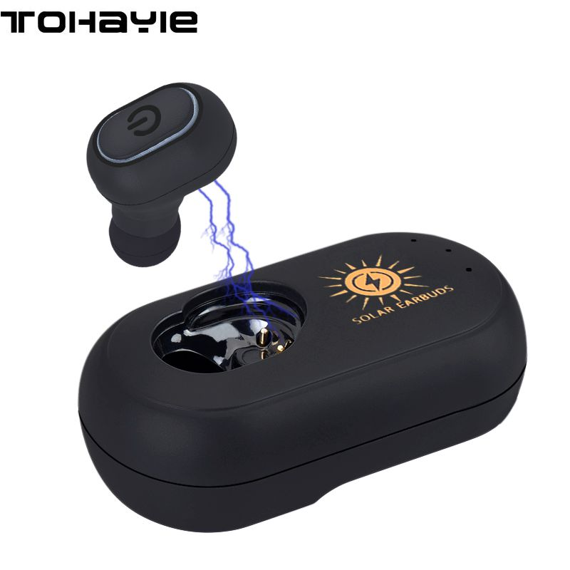 ToHayie Mini Solar Earbuds Wireless Bluetooth Earphone For Car Headset With Mic Stereo Auriculares Bluetooth Earpiece for Phones rankman mini sport wireless earbuds high quality bluetooth stereo earphone car drive handsfree with hd mic for iphone xiaomi