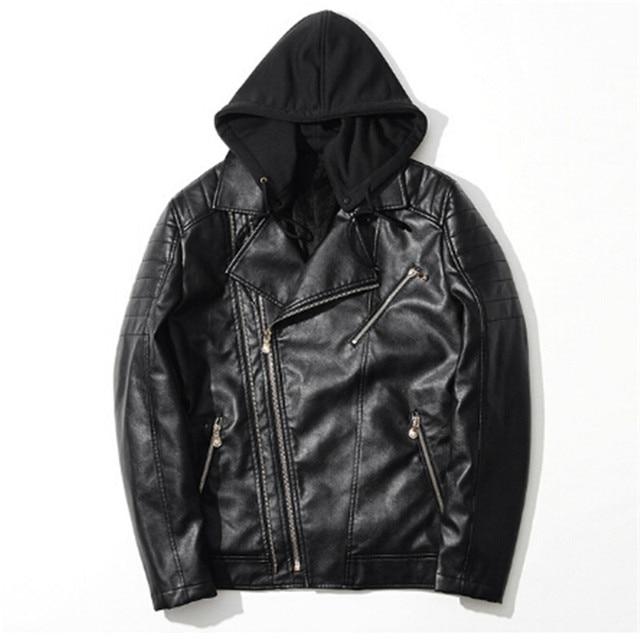 New Best Design Black Hooded Leather Men's Warm fleece Jacket mens ...
