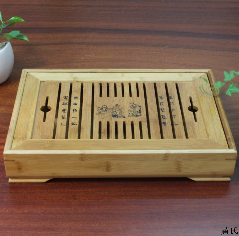 Wholesale tea natural bamboo tea tray 35*24*6 Fu water storage type tea Festival gift custom LOGO wholesale opening film ru tea caddy sealed cans antique embossed pattern logo customized gift packaging