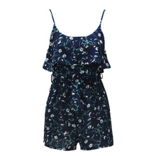 Sexy Jumpsuit For Women 2019 Floral Print Ruffled Spaghetti Strap Bodysuit Sleeveless Belted Culotte Mini Slip Playsuit Overalls