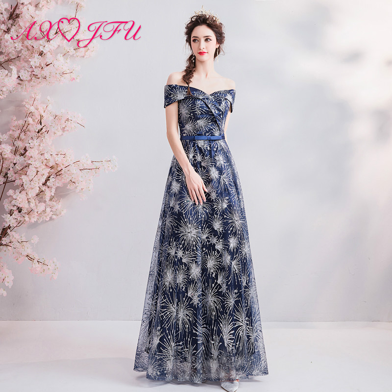 AXJFU blue princess evening dress navy bow boat nack evening dress vintage turkey illusion sparkly luxury evening dress 1886