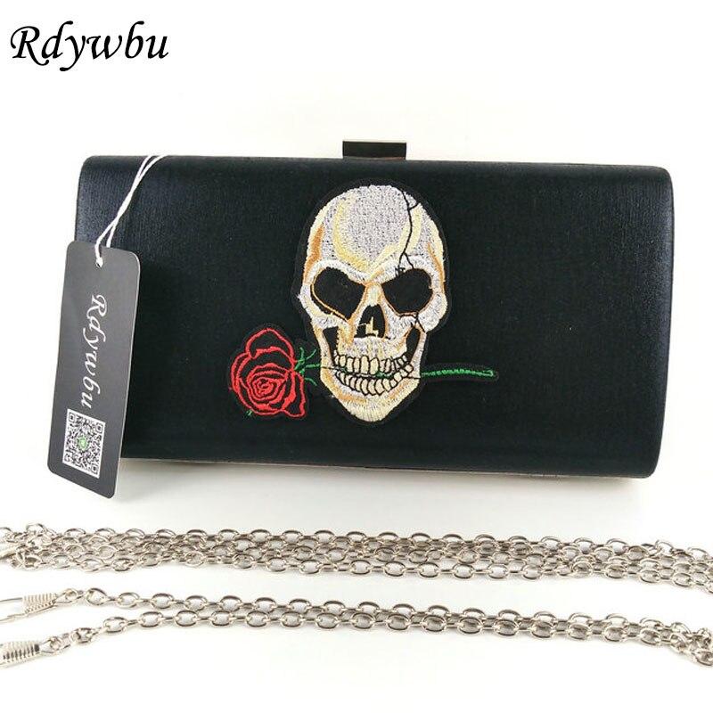 Rdywbu Embroidery Skull Dangling Rose Flowers Handbag Womens Chain Bags Metal Clutches Ladies Party Perfect Bolsas Femininas H91 цены