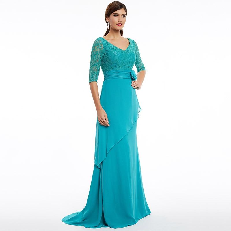 1260bdf33687 Tanpell sweep tågaftonklänning nya blå v-halva ärmar golvlängd ...