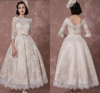 Lace Wedding Dress 2019 Vintage Bateau Champagne Half Sleeves Bridal Gown A line Backless Tea length Sash Reception Bridal Dress