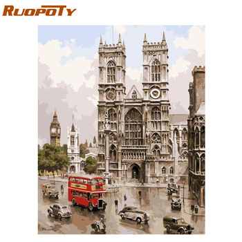 London City Scape Painting By Numbers Kit Westminster Abbey