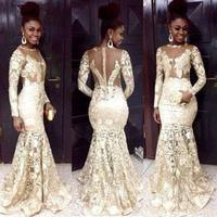 Mermaid Prom Dresses 2015 Sexy Sheer Crew White Lace Prom Dress Zipper Back Court Train Long Sleeves Party Evening Gowns R217