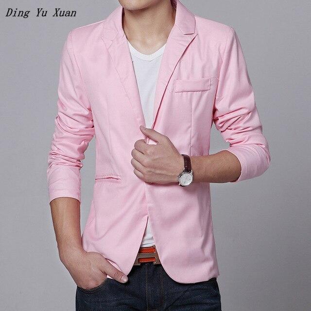 Korean Style Mens Casual Blazer Men Autumn Slim Fit Dress Suit Jacket For Men Pink Black Blue Grey Burgundy Formal Blazer Hombre