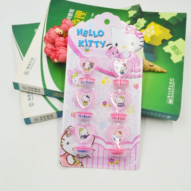 6pcs Set Hello Kitty Party Decoration Rubber Stamp Funny K For Kids