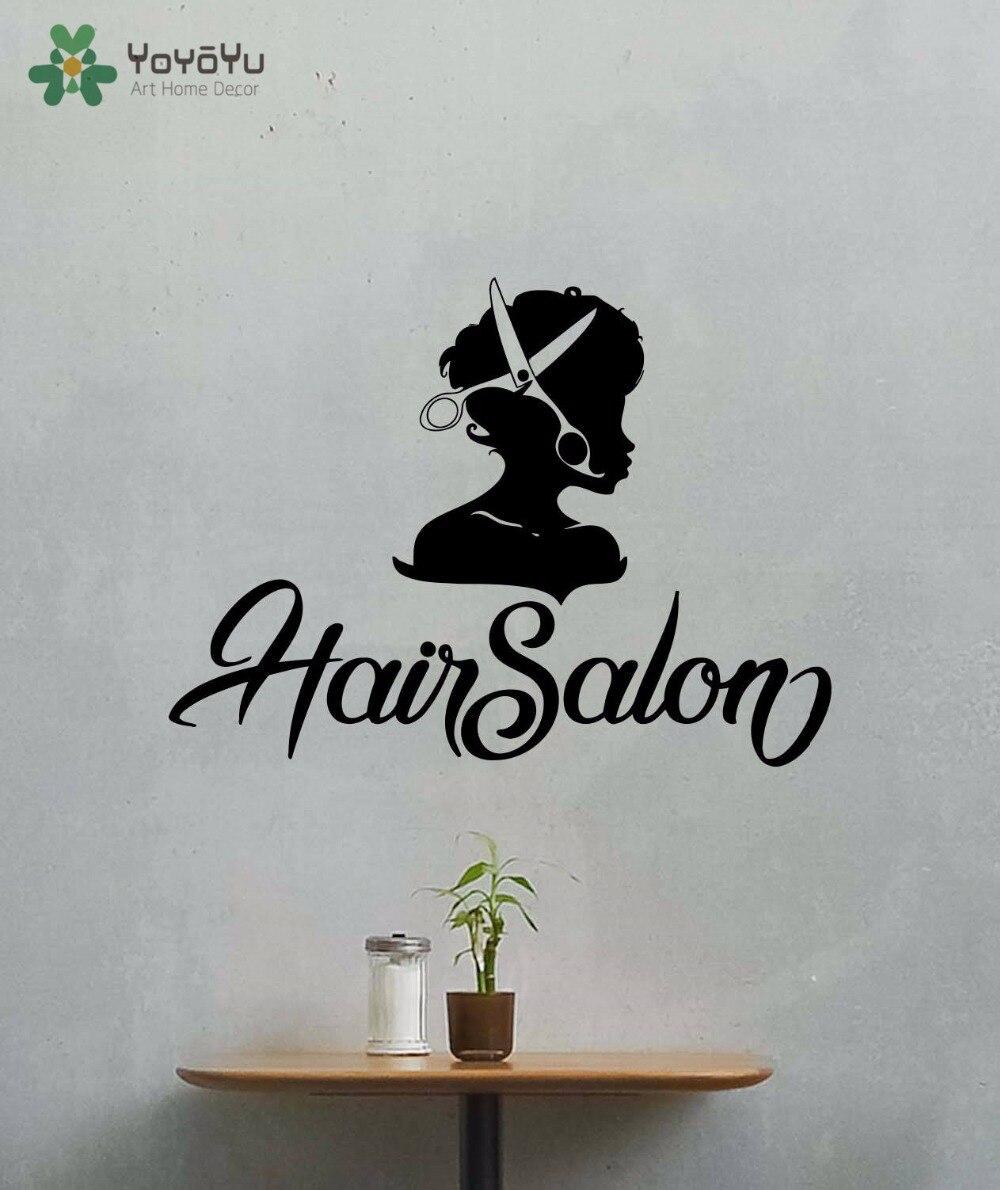 YOYOYU Wall Decal Girls Beauty Hair Salon Vinyl Wall Sticker Barber Shop Modern Design Hairdresser Art Decor Removable DIY CY384 in Wall Stickers from Home Garden