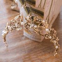 Vintage Gold Leaves Metal Bridal Wedding Tiara Hairband Bride Crowns Pearl Flower Women Pageant Prom Hair
