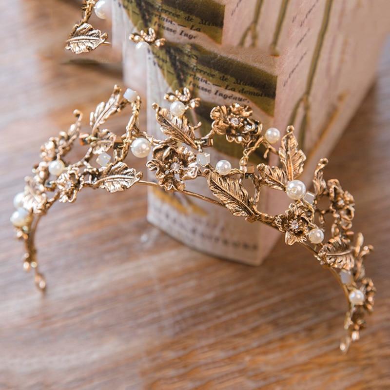 Vintage baroc auriu mireasa Tiara si coroane femei mireasa Pageant Prom Ornamente de par Cap cap de nunta Accesorii bijuterii