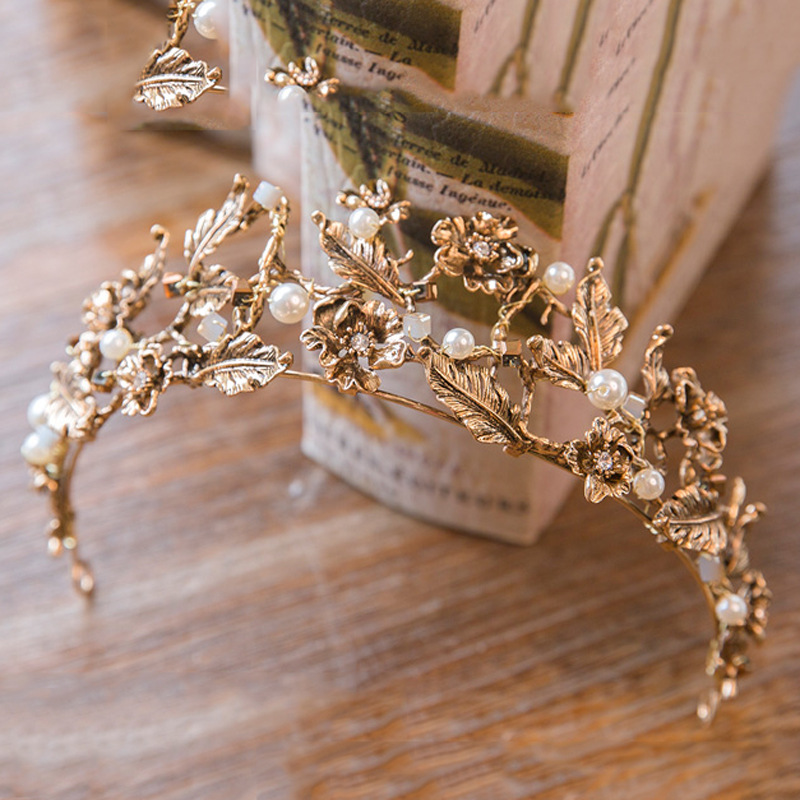 Винтидж бароково злато булчински сватбени диадеми и корони жени булка конкурс бала украшения за коса сватбена глава бижута аксесоари