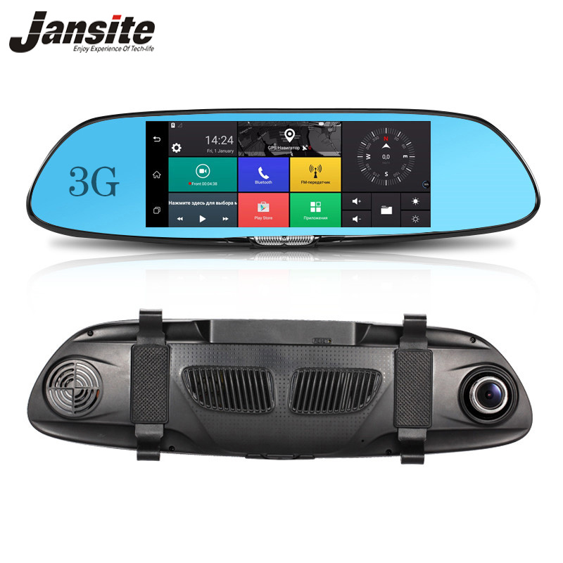 Jansite 3G GPS navigation Car Dvr 7 Touch screen Car camera Android 5.0 Bluetooth Wifi rearview mirror car video recorder hot sale android 5 0 car dvr wireless 3g wcdma b1 2100 dual lens camera rearview mirror gps navigation 7 0 ips touch screen