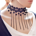 2016 Moda de Nueva Marca de Lujo de Encaje Negro Collar de Cadena Sexy Y Los Granos de La Borla Collar Gargantilla Declaración de Joyería Para Las Mujeres Regalo