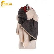POBING Winter Scarf Women 2017 Oversized Tartan Plaid Scarves Unisex Acrylic Wrap Basic Shawls Cashmere