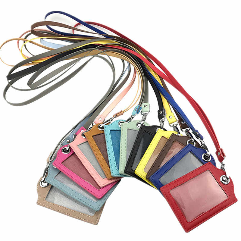 Leather ID Badge Card Holder Wallet Case with 1 Clear ID Window 1 Credit Card Slot Lanyards Office Neck Strap