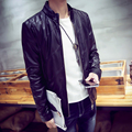 LQ23 Men Leather Jacket Stand Collar Zipper Casual Mens Leather Jackets And Coats Pilot Leather Jacket Men