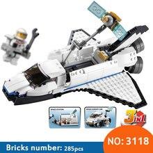 DECOOL 3 in 1 Space Shuttle Explorer 3118 City Building Blocks Sets Kits DIY Bricks Classic Model Kids Toys compatible 31066