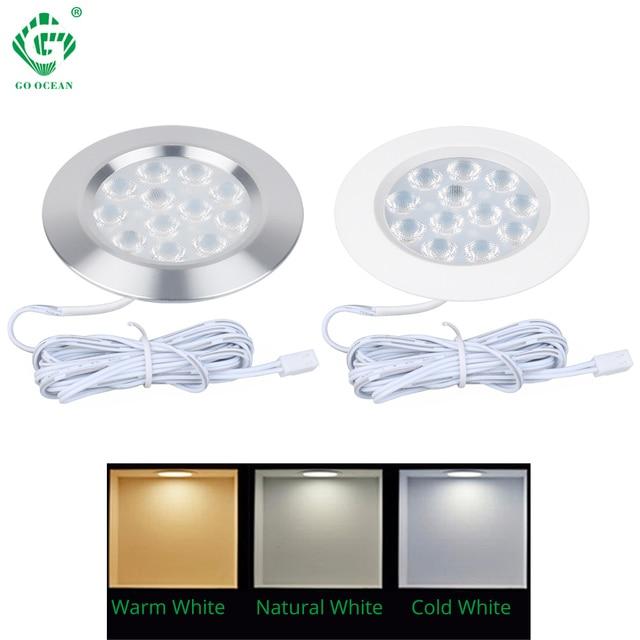 LED Under Cabinet Lights 12V Closet wardrobe Round Cabinet Lamp Cupboard Kitchen Down Light Night Showcase Shelf Lighting