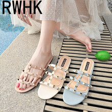 RWHK 2019 summer new rivet slippers female casual open toe flat wear low with a word drag B167