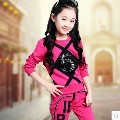 ФОТО 2016 spring autumn children rhinestone plaid clothing sets girls casual t-shirt + pants 2pcs female kids sports clothes y183