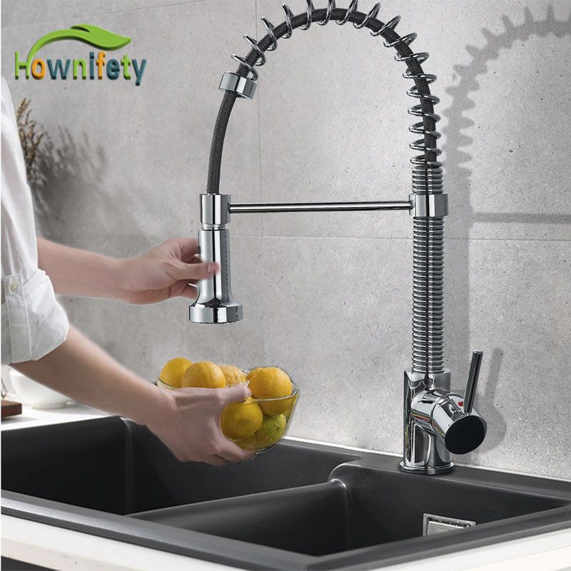 Chrome Brushed Blacked ORB Kitchen Faucet Pull out two mode spout spray and Stream hot cold