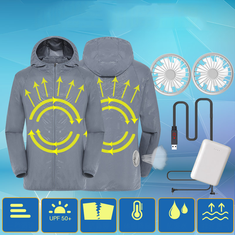 Air Conditioning Jacket Waterproof Anti UV Clothing USB Cooling Conditioned Fan Jackets For Outdoor High Temperature