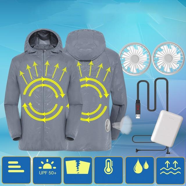 Куртка для кондиционирования воздуха водонепроницаемая одежда для защиты от УФ USB охлаждающая вентиляторная куртка для улицы с высокой температурой
