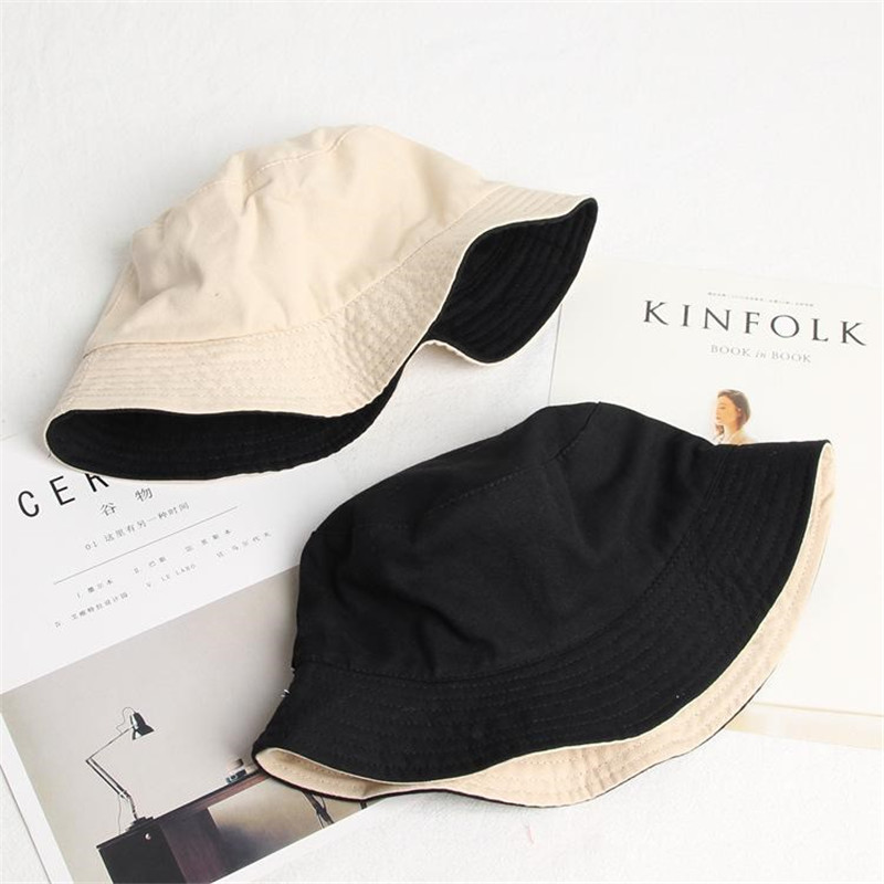 2019 Solid Double Sided Bucket Hat Fisherman Hat Outdoor Travel Hat Sun Cap Hats For Men And Women 282