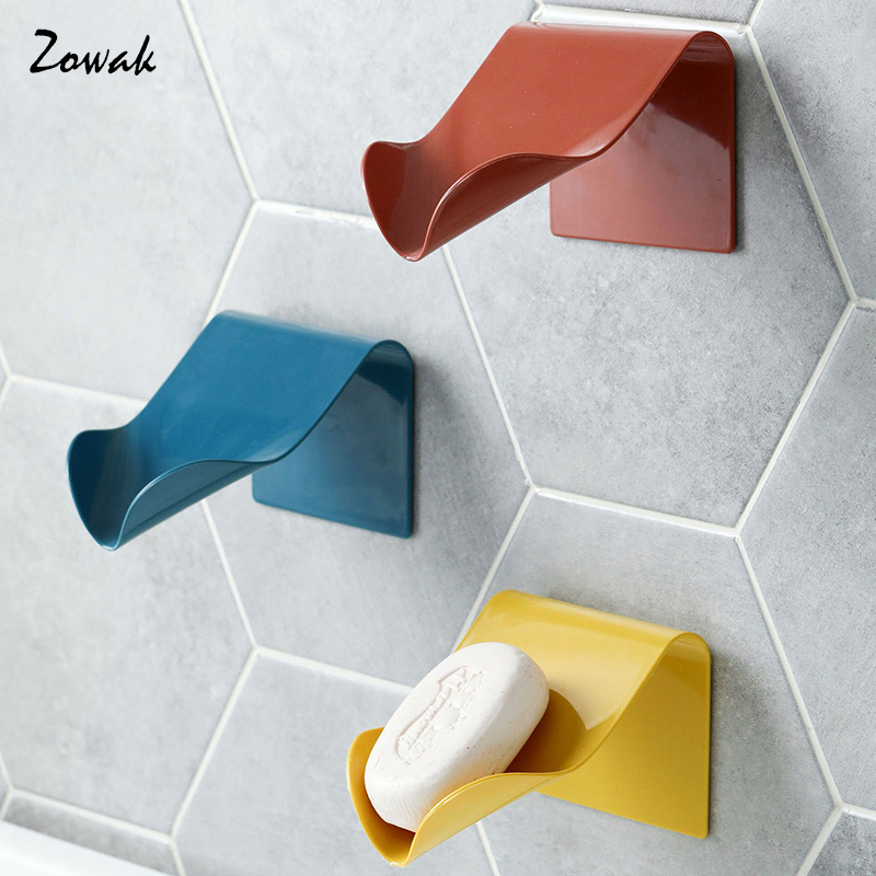 Soap Dish Adhesive Soap Holder Bathroom Portable Tray Storage Organizer Container Wall Dishes Accessories Shelf Shower Draining