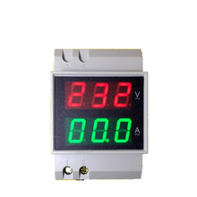 D52-2042  2 In 1  Dual LCD Display Rail Digital  Voltage Current  Meter  Ammeter Voltmete AC80-300V 99.9A  40%OFF