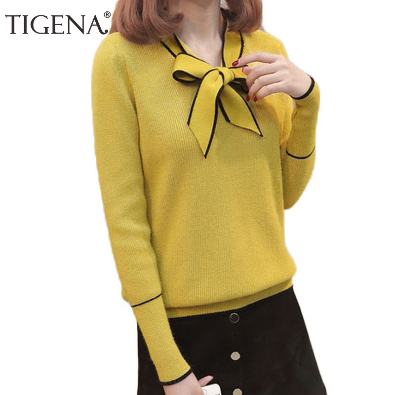 TIGENA 2019 Autumn Winter Pullover Sweater Women Long Sleeve Knitted Sweater Female With Bow Yellow Red Jumper Ladies Clothes