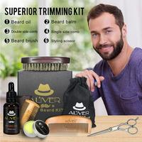 New Beard Comb 6 Piece Men's Beard Style Care Set Beard Grease Comb Pig Bristle Brush Complete Mustache Grooming Trimming Set