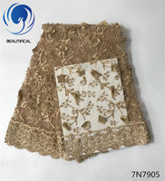 Beautifical Gold Tulle Lace 3d Appliques Fabric 2017 High Quality Embroidered Nigerian Net Lace With Guipure