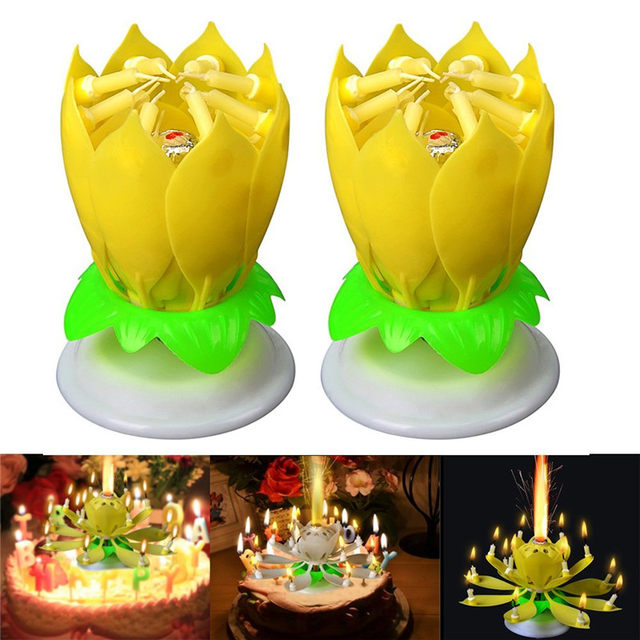 2Pcs Set Fashion Amazing Romantic Musical Lotus Rotating Happy Birthday Wedding Candle Magical Sparklers For Party Gift