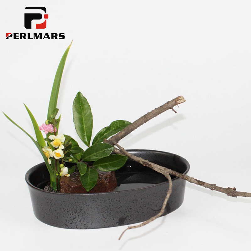 Vintage Ceramic Oval Flower Pot Coarse Pottery Vase